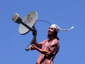 antena y gorro de aluminio